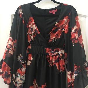 Betsey Johnson Dresses - Betsey Johnson Boho Bell Sleeve Floral Wrap Dress